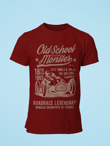 Old School Monster - Men's Half Sleeve T-Shirt - Maroon
