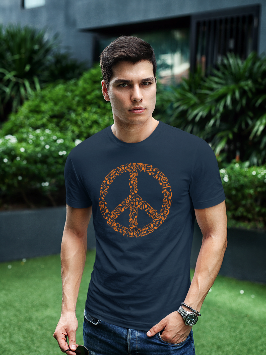 Peace - Men's Half Sleeve T-Shirt - Navy Blue