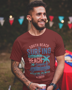 South Beach Surfing - Men's Half Sleeve T-Shirt - Maroon