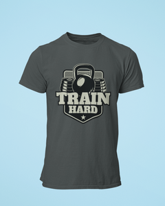 Train Hard - Men's Half Sleeve T-Shirt - Steel Grey