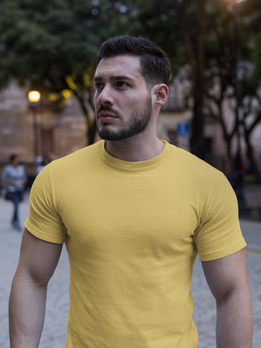 Plain - Men's Half Sleeve T-Shirt - Yellow