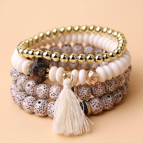 Tassel Charm Beaded Bracelet Set