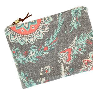 Bright Grey Medallion Zip Pouch