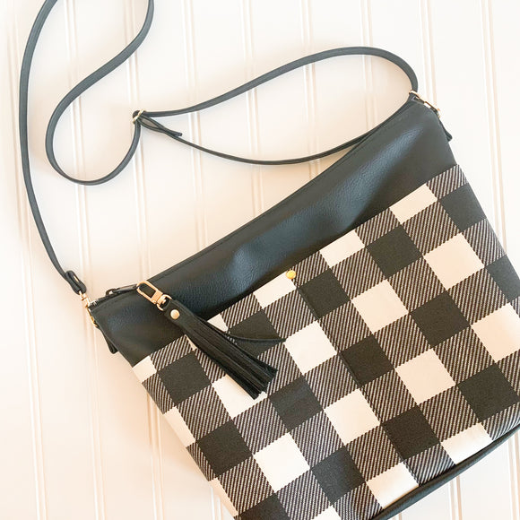 Black Vegan Leather Crossbody Purse - Buffalo Plaid