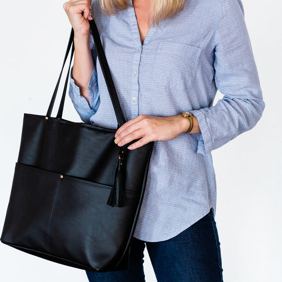 Vegan Leather Tote Bag - Black