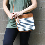 Vegan Leather Crossbody Purse - Navy Stripe