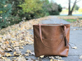 Vegan Leather Tote Bag - Caramel