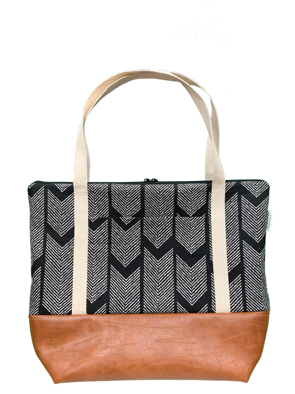 Herringbone Tote Bag - Black & White