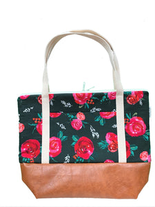 Floral Tote Bag - Emerald