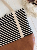 Stripe Tote Bag - Black & Ivory