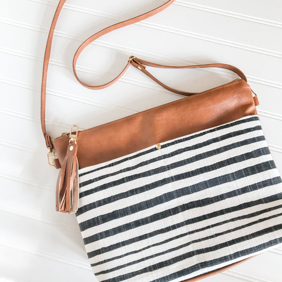 Vegan Leather Crossbody Purse - Wonky Stripe