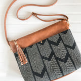 Vegan Leather Crossbody Purse - Black Herringbone