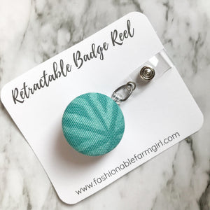 Retractable Badge Reel - Teal Geometric