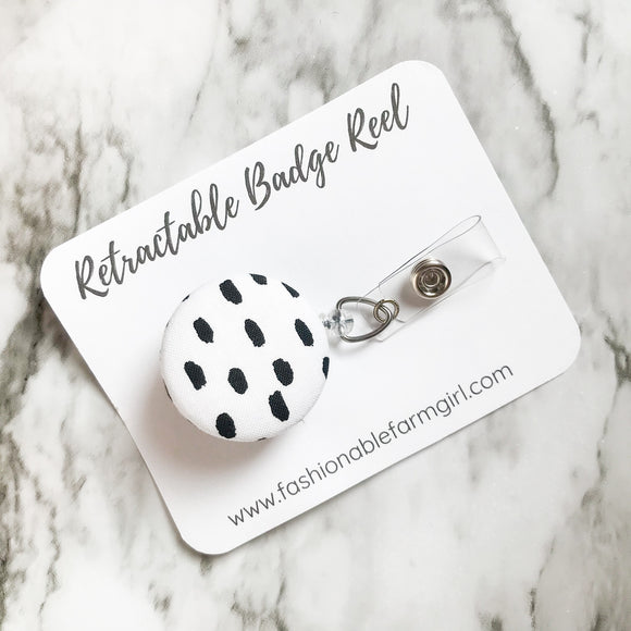 Retractable Badge Reel - Black & White Dot