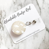 Retractable Badge Reel - Natural with Polka Dots