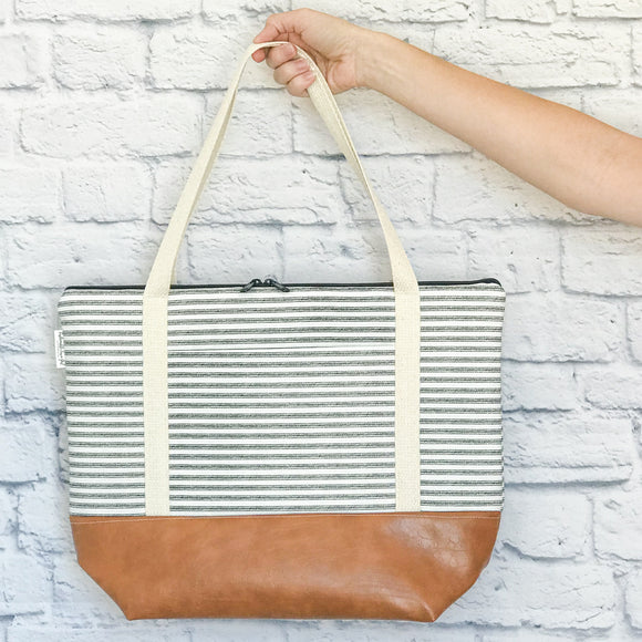 Tote Bag - Black & White Ticking Stripe