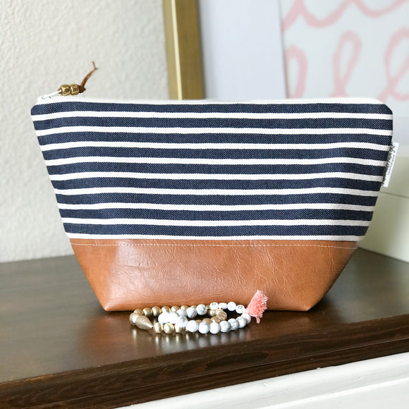 Makeup Bag - Navy Stripe
