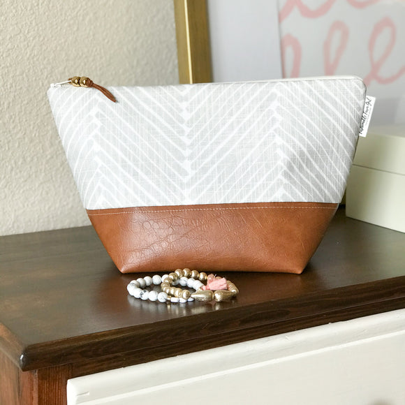 Makeup Bag - Greige Herringbone