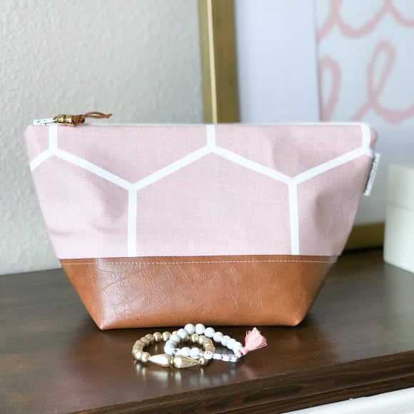 Makeup Bag - Blush Honeycomb