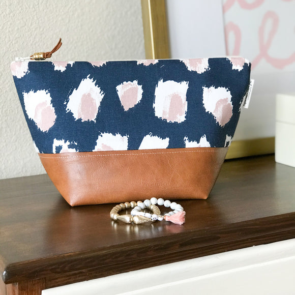 Makeup Bag - Blush & Navy Abstract Dot