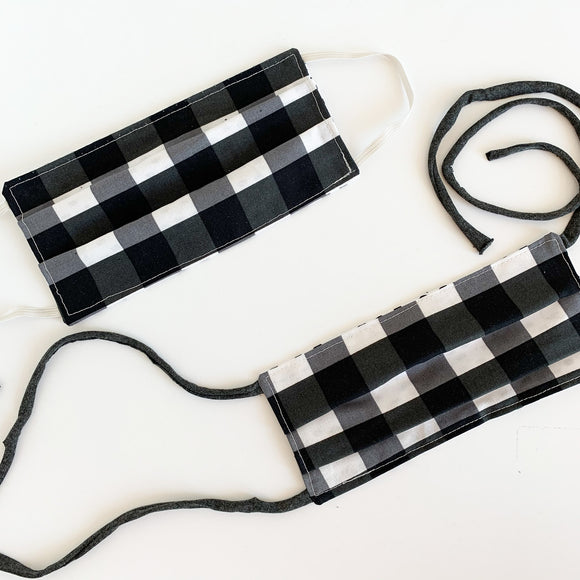 Face Mask - Black & White Plaid