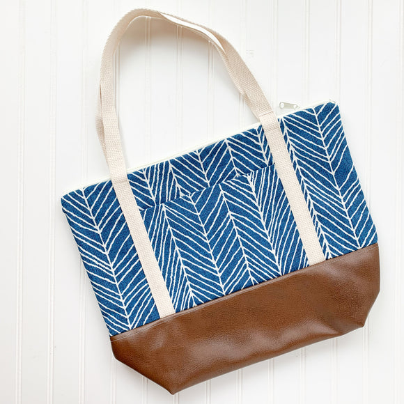 Tote Bag - Blue Herringbone