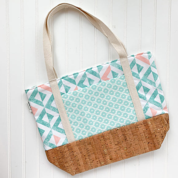 Tote Bag - Mint Triangles