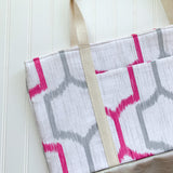 Tote Bag - Pink & Grey Geometric