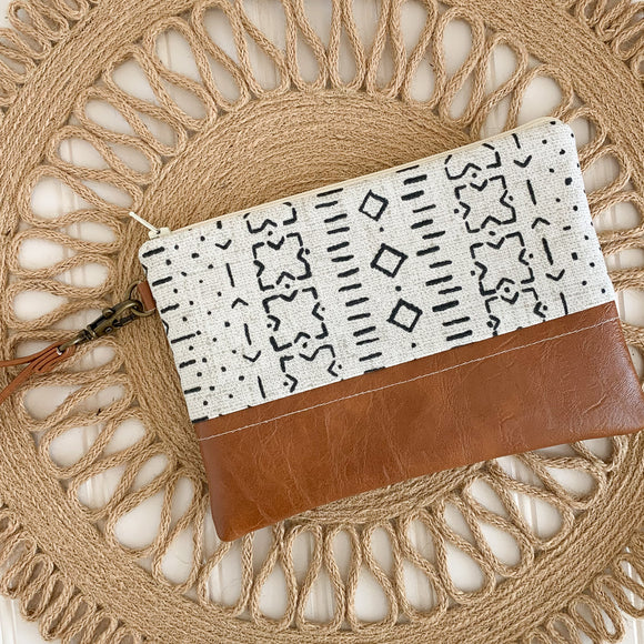 Wristlet Wallet - Ivory Mudcloth
