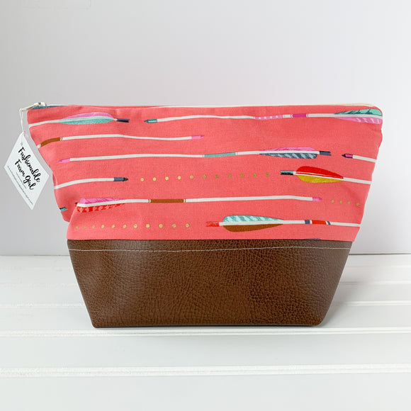 Makeup Bag - Coral Arrow