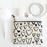 Hand Drawn Heart Zip Pouch