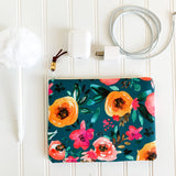 Teal Floral Zip Pouch
