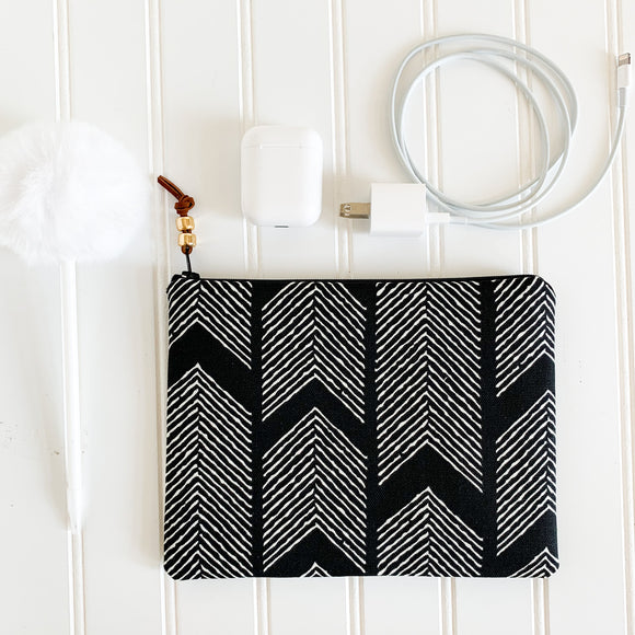Black Herringbone Zip Pouch