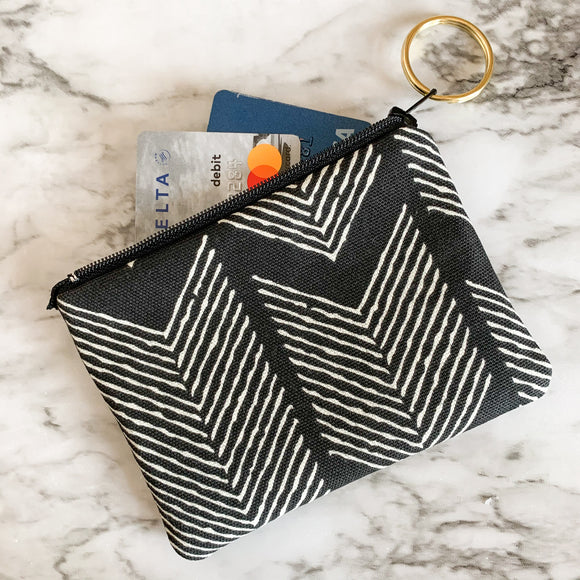 Black Herringbone Mini Zip