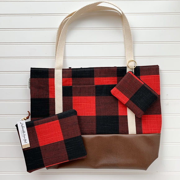 Tote Bag Bundle - Red Buffalo Plaid