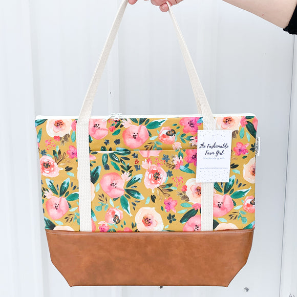 Tote Bag w/Luggage Sleeve - Mustard Floral