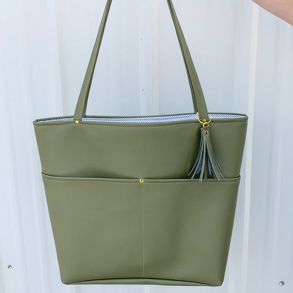 Vegan Leather Tote Bag - Olive