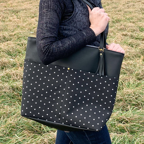 Black Vegan Leather Tote Bag - Black Polka Dot