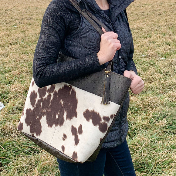 Textured Vegan Leather Tote Bag - Cowhide