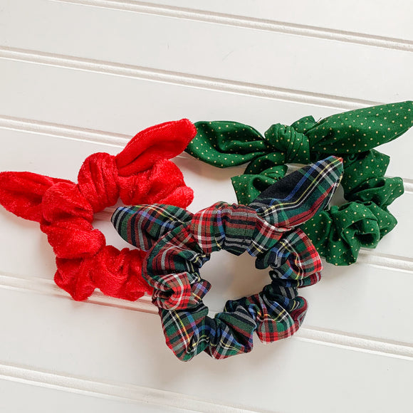 Scrunchie Set - Black Plaid, Red Velvet, & Green w/gold dot