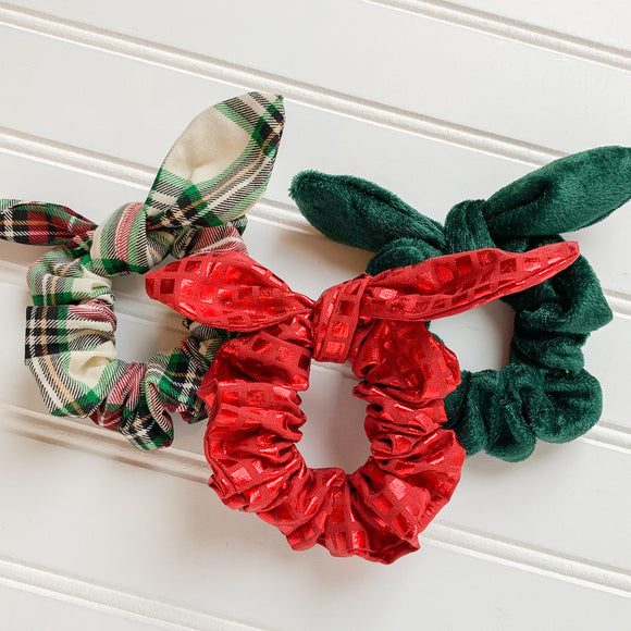 Scrunchie Set - Christmas Plaid, Green Velvet, & Glimmering Red