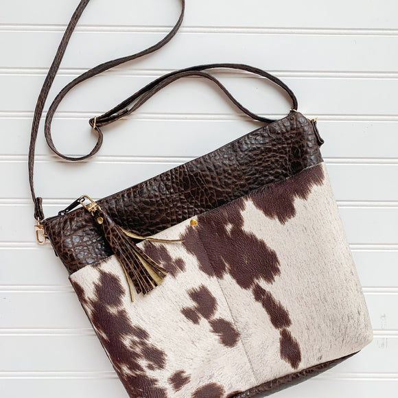 Textured Vegan Leather Crossbody Purse - Cowhide