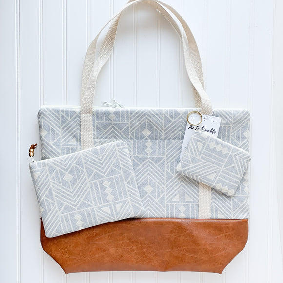 Tote Bag Bundle - Greige Aztec