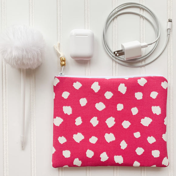 Pink Dotted Zip Pouch