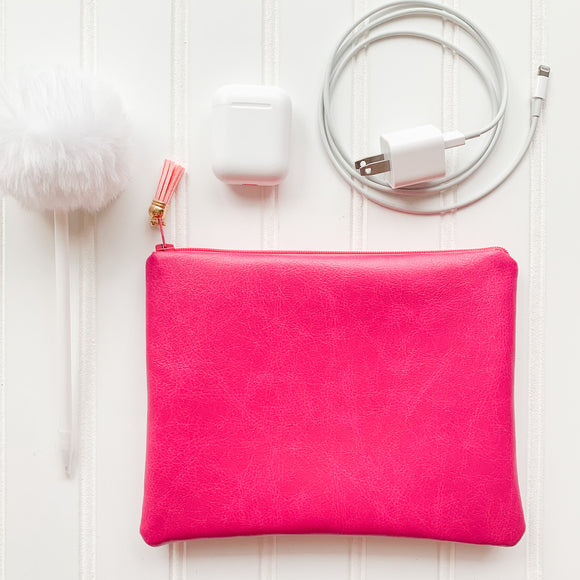 Vegan Leather Zip Pouch - Pink
