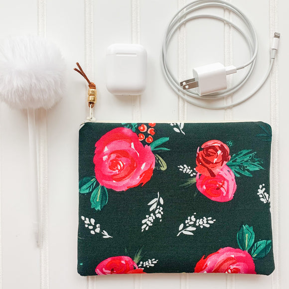 Emerald Floral Zip Pouch
