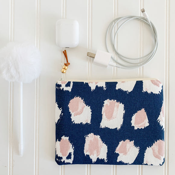 Blush & Navy Abstract Dot Zip Pouch