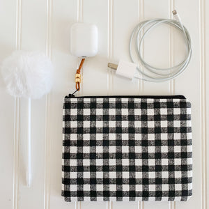 Black & White Gingham Zip Pouch