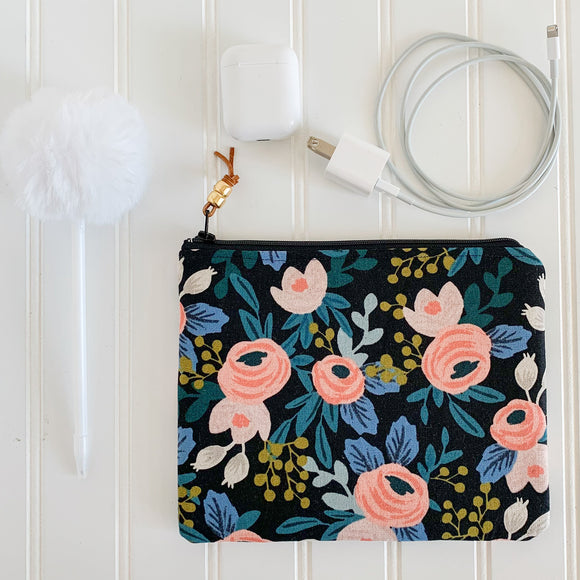 Rifle Paper Co. Black Rosa Zip Pouch