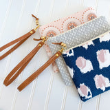 Blush Rose Gold Medallion Zip Pouch